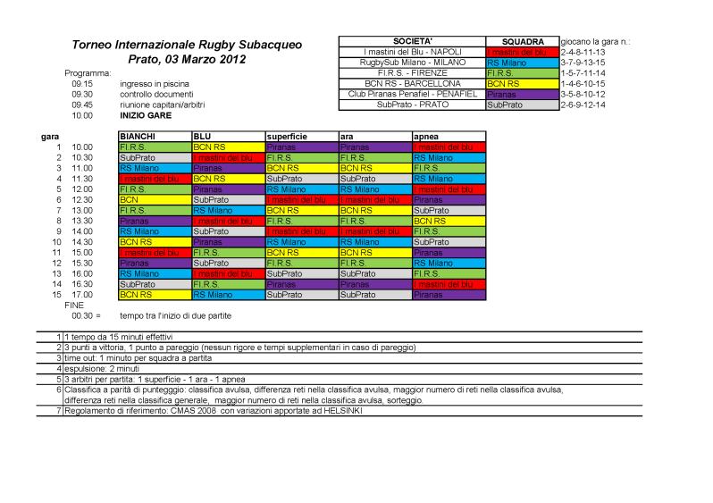Calendario gare - TorneoPrato2012